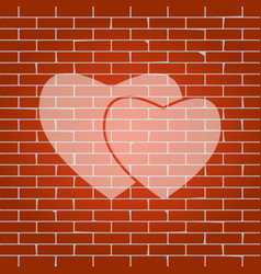 two hearts sign whitish icon on brick vector image vector image