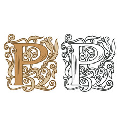 Vintage initial letter p with baroque decoration vector