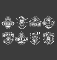 vintage monochrome sport clubs logos set vector image