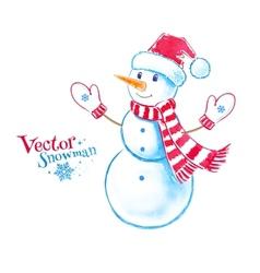 Watercolor snowman vector image