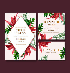 Wedding card design with colorful tropical theme vector