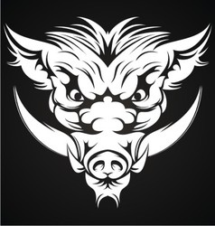 White Boar Head vector image