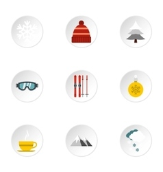 Winter frost icons set flat style vector