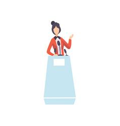 woman standing behind rostrum giving speech vector image