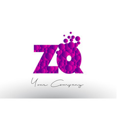 zq z q dots letter logo with purple bubbles vector image