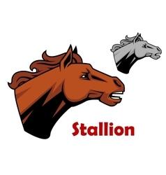 Brown cartoon horse stallion character vector image