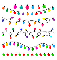 colorful pack of flat christmas lights vector image vector image