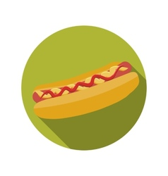 Flat Design Concept Hot Dog With Long Shadow vector image vector image