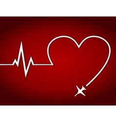 Heart the plane vector image vector image