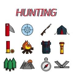 Hunting flat icons set vector image vector image