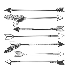 Arrow set in Native American Indian style vector image