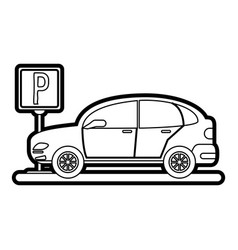 car and street sign vector image vector image