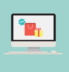 computer with gift shopping bag icon vector image vector image