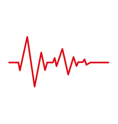 heart pulse red line cardiogram icon vector image