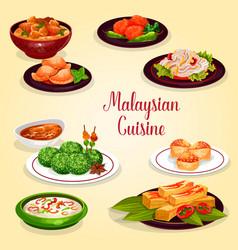 Malaysian cuisine icon of asian restaurant menu vector