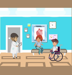 people line at hospital and doctor vector image