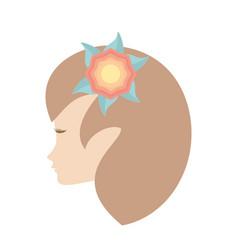 profile woman flower romantic image vector image