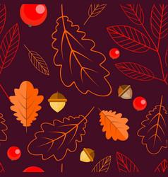 seamless pattern of oak leaves leaves and rowan vector image