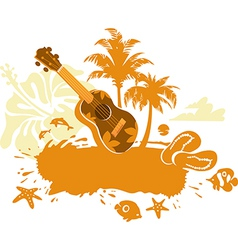 Tropical Banner with a Flower Palm Trees and Ukule vector image