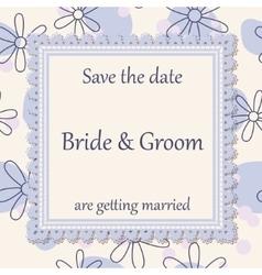 Wedding invitation flowers background vintage vector image vector image