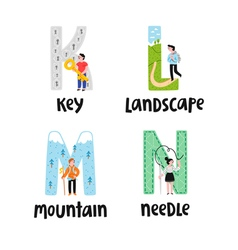 Alphabet letters k to n vector image vector image