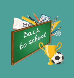 banner back to school with football ball and cup vector image vector image
