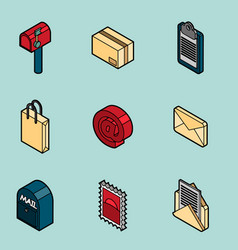 delivery flat outline isometric set vector image