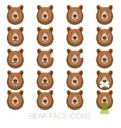 Set of bear face icons vector image vector image