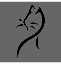 Stylized cat icon on gray background vector