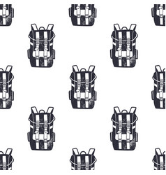 vintage hand drawn backpacks seamless pattern vector image