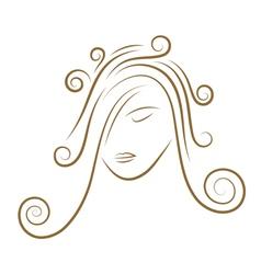 girls face gold sketch vector image