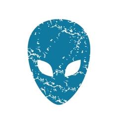 Grunge alien face icon vector image vector image