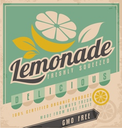 Retro poster design for ice cold lemonade vector image vector image