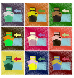 Set of flat icons in shading style cargo ship vector