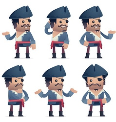 set of pirate character in different poses vector image vector image