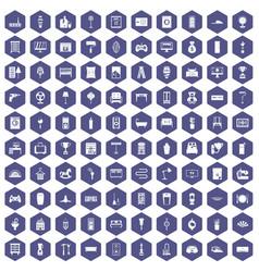 100 home icons hexagon purple vector