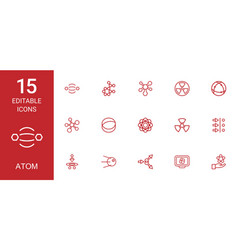 15 atom icons vector