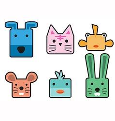 Animal head cartoon rectangle vector image