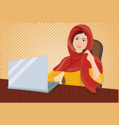 Arab business woman in traditional clothes working vector