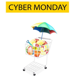 Beach Items in Cyber Monday Shopping Cart vector