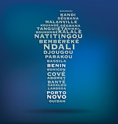 Benin map made with name of cities vector image