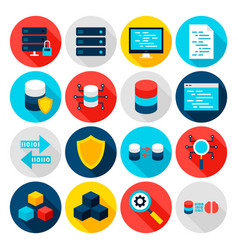 big data flat icons vector image