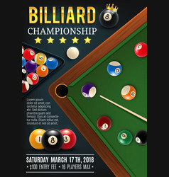 Billiards game table with cue and balls vector