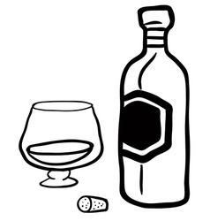 black and white bottle and glass vector image