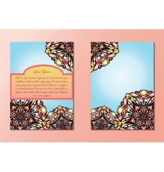 Blue and orange brochures or flyers or invitations vector