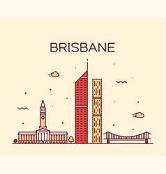 Brisbane skyline big city australia line vector