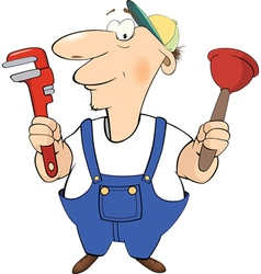 Cartoon plumber with tools cartoon vector image