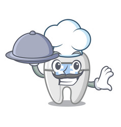 Chef with food braces in a cartoon shape vector