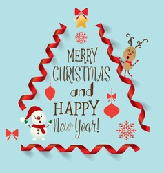Christmas Greeting Card with Merry Christmas vector