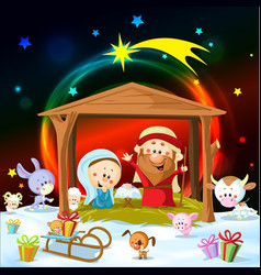 christmas nativity with lights and cute animals vector image